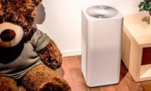 Очиститель воздуха и мягкий медвежонок