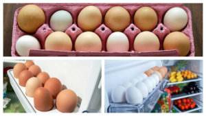 Три фото яиц в упаковке
